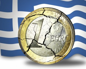 Cracked euro and Greek flag